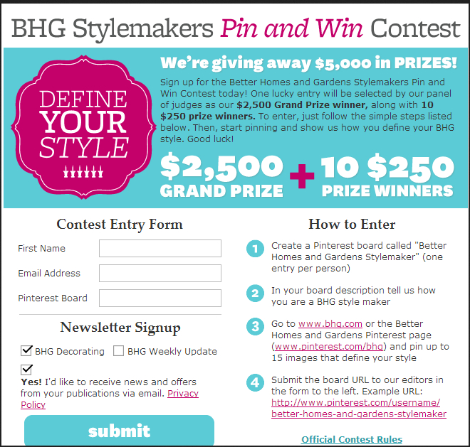 BHG Pinterest Contest with Form